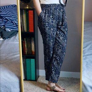 Dark Blue Patterned Harem Pants